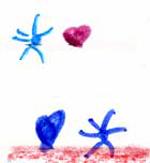 Estrellitas y corazones (detalle del dibujo de un niño)