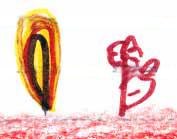 Detalle del dibujo de un nino