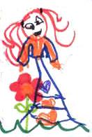 Una chica (detalle de un dibujo de un niño)